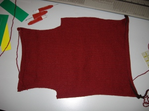 red sweater back